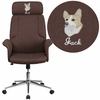 Embroidered High Back Brown Fabric Executive Swivel Chair with Chrome Base and Fully Upholstered Arms [CH-CX0944H-BN-EMB-GG]