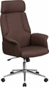 High Back Brown Fabric Executive Swivel Chair with Chrome Base and Fully Upholstered Arms [CH-CX0944H-BN-GG]
