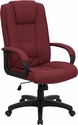 High Back Burgundy Fabric Executive Swivel Chair with Arms [GO-5301B-BY-GG]