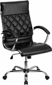 High Back Designer Black Leather Executive Swivel Chair with Chrome Base and Arms [GO-1297H-HIGH-BK-GG]