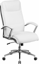 High Back Designer White Leather Executive Swivel Chair with Chrome Base and Arms [GO-2192-WH-GG]
