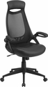 High Back Black Mesh Executive Swivel Chair with Leather Seat and Flip-Up Arms [HL-0018-LEA-GG]