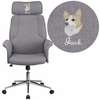 Embroidered High Back Gray Fabric Executive Swivel Chair with Chrome Base and Fully Upholstered Arms [CH-CX0944H-GY-EMB-GG]