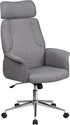 High Back Gray Fabric Executive Swivel Chair with Chrome Base and Fully Upholstered Arms [CH-CX0944H-GY-GG]