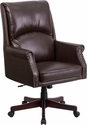 High Back Pillow Back Brown Leather Executive Swivel Chair with Arms [BT-9025H-2-BN-GG]
