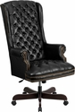 High Back Traditional Tufted Black Leather Executive Swivel Chair with Arms [CI-360-BK-GG]