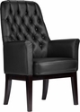 High Back Traditional Tufted Black Leather Side Reception Chair [BT-444-SD-BK-GG]