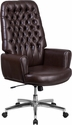 High Back Traditional Tufted Brown Leather Executive Swivel Chair with Arms [BT-444-BN-GG]