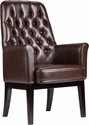 High Back Traditional Tufted Brown Leather Side Reception Chair [BT-444-SD-BN-GG]