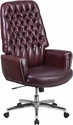 High Back Traditional Tufted Burgundy Leather Executive Swivel Chair with Arms [BT-444-BY-GG]