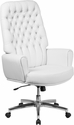High Back Traditional Tufted White Leather Executive Swivel Chair with Arms [BT-444-WH-GG]