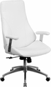 High Back White Leather Executive Swivel Chair with Arms [BT-90068H-WH-GG]