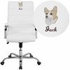 Embroidered High Back White Leather Executive Swivel Chair with Chrome Base and Arms [GO-2286H-WH-EMB-GG]