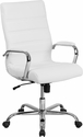 High Back White Leather Executive Swivel Chair with Chrome Base and Arms [GO-2286H-WH-GG]
