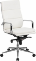 High Back White Leather Executive Swivel Chair with Synchro-Tilt Mechanism and Arms [BT-9895H-6-WH-GG]