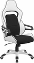High Back White Vinyl Executive Swivel Chair with Black Fabric Inserts and Arms [CH-CX0713H01-GG]