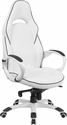 High Back White Vinyl Executive Swivel Chair with Black Trim and Arms [CH-CX0496H01-GG]
