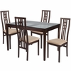 Highland 5 Piece Espresso Wood Dining Table Set with Glass Top and High Triple Window Pane Back Wood Dining Chairs - Padded Seats [ES-95-GG]
