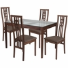 Highland 5 Piece Walnut Wood Dining Table Set with Glass Top and High Triple Window Pane Back Wood Dining Chairs - Padded Seats [ES-109-GG]