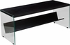 Highwood Collection Espresso Finish Coffee Table with Shelves and Glass Frame [NAN-JN21708C-G-GG]