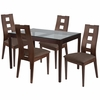 Hollister 5 Piece Espresso Wood Dining Table Set with Glass Top and Window Pane Back Wood Dining Chairs - Padded Seats [ES-86-GG]