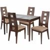Hollister 5 Piece Walnut Wood Dining Table Set with Glass Top and Window Pane Back Wood Dining Chairs - Padded Seats [ES-100-GG]