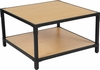 Holmby Collection Knotted Pine Wood Grain Finish Coffee Table with Black Metal Legs [NAN-JH-1797CT-GG]