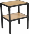 Holmby Collection Knotted Pine Wood Grain Finish Side Table with Black Metal Legs [NAN-JH-1797ET-GG]