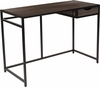 Homewood Collection Driftwood Finish Computer Desk with Pull-Out Drawer and Black Metal Frame [NAN-JN-21706T-GG]