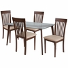 Hughson 5 Piece Walnut Wood Dining Table Set with Glass Top and Rail Back Wood Dining Chairs - Padded Seats [ES-139-GG]