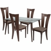 Huntington 5 Piece Espresso Wood Dining Table Set with Glass Top and Slotted Back Wood Dining Chairs - Padded Seats [ES-117-GG]