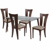 Huntington 5 Piece Walnut Wood Dining Table Set with Glass Top and Slotted Back Wood Dining Chairs - Padded Seats [ES-131-GG]