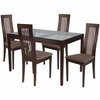 Imperial 5 Piece Espresso Wood Dining Table Set with Glass Top and Framed Rail Back Design Wood Dining Chairs - Padded Seats [ES-93-GG]
