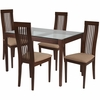 Imperial 5 Piece Walnut Wood Dining Table Set with Glass Top and Framed Rail Back Design Wood Dining Chairs - Padded Seats [ES-107-GG]