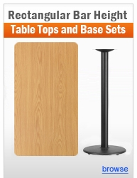 Individual Rectangular Bar Height Table and Base Sets