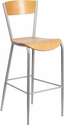 Invincible Series Silver Metal Restaurant Barstool - Natural Wood Back & Seat [XU-DG-60218-NAT-GG]