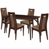 Jefferson 5 Piece Espresso Wood Dining Table Set with Curved Slat Wood Dining Chairs - Padded Seats [ES-3-GG]