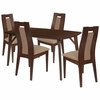 Jefferson 5 Piece Walnut Wood Dining Table Set with Curved Slat Wood Dining Chairs - Padded Seats [ES-17-GG]
