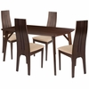 Kensington 5 Piece Espresso Wood Dining Table Set with Padded Wood Dining Chairs [ES-8-GG]