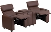 Kid's Brown Leather Reclining Theater Seating with Storage Console [BT-70592-BN-LEA-GG]
