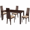 Lakeview 5 Piece Espresso Wood Dining Table Set with Padded Wood Dining Chairs [ES-36-GG]