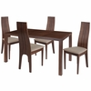 Lakeview 5 Piece Walnut Wood Dining Table Set with Padded Wood Dining Chairs [ES-50-GG]