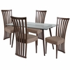 Lakewood 5 Piece Espresso Wood Dining Table Set with Glass Top and Dramatic Rail Back Design Wood Dining Chairs - Padded Seats [ES-146-GG]