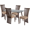 Lakewood 5 Piece Walnut Wood Dining Table Set with Glass Top and Dramatic Rail Back Design Wood Dining Chairs - Padded Seats [ES-160-GG]
