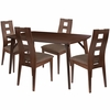LaSalle 5 Piece Espresso Wood Dining Table Set with Window Pane Back Wood Dining Chairs - Padded Seats [ES-2-GG]