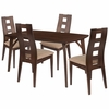 LaSalle 5 Piece Walnut Wood Dining Table Set with Window Pane Back Wood Dining Chairs - Padded Seats [ES-16-GG]