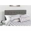 Lennox Tufted Upholstered Twin Size Headboard in Gray Vinyl [HG-HB1705-T-GY-GG]