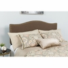 Lexington Upholstered King Size Headboard with Decorative Nail Trim in Dark Brown Fabric [HG-HB1707-K-DBR-GG]