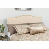 Lexington Upholstered Queen Size Headboard with Decorative Nail Trim in Beige Fabric [HG-HB1707-Q-B-GG]