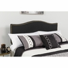Lexington Upholstered Queen Size Headboard with Decorative Nail Trim in Black Fabric [HG-HB1707-Q-BK-GG]